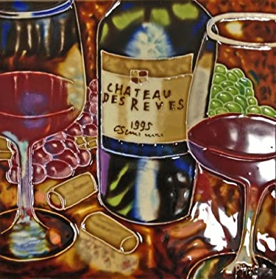Continental Art Center BD-0366 8 by 8-Inch Wine with Glasses Ceramic Art Tile, Purple/Red