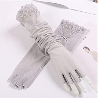 SHENTIANWEI Women's UPF50+ Long Lace Sleeve Ice Wire Arm Set Half Finger Driving Anti-skid Sun Visor (Color : Gray, Size : One size-Five pairs)