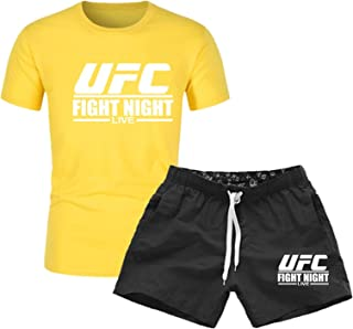 Men's T-shirt Men's Workout Top, Summer UFC Printing Short Sleeves, Gifts For Mixed Fighting Fans (Color : Yellow, Size : ...
