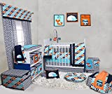 Bacati Liam Aztec 10 Piece Nursery-in-a-Bag Cotton Percale Crib Bedding Set with Bumper