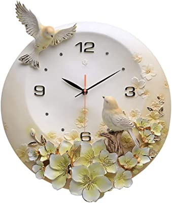 Non-tick Wall Clock Bird Embossed Decoration Mute Clock Fashion Home Art Quartz Clock Living
