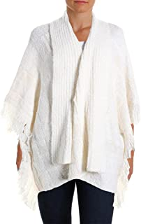 Ralph Lauren Lauren Womens Knit Fring Cape Sweater Ivory L/XL