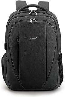 Unisex Vintage Waterproof Backpack Backpack Multifunction Computer Bag Student Bag USB Travel Backpack QDDSP (Color : Black)