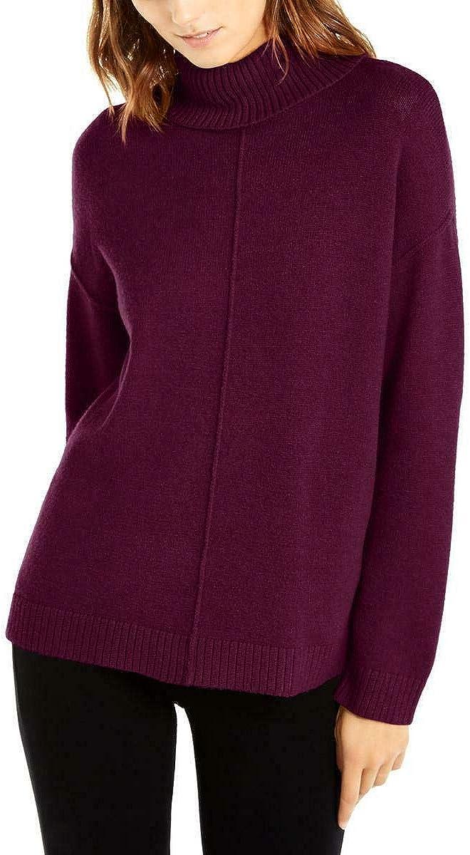 Alfani Womens Heathered Drop-Shoulder Pullover Sweater