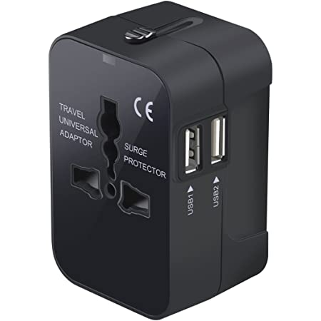 Travel Adapter, Worldwide All in One Universal Travel Adaptor Wall AC Power Plug Adapter Wall Charger with Dual USB Charging Ports for USA EU UK AUS Cell Phone Laptop