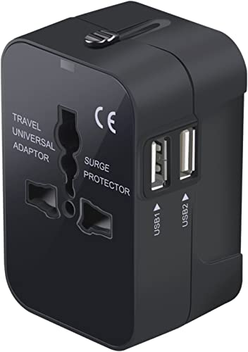 Travel Adapter, Worldwide All in One Universal Travel Adaptor Wall AC Power Plug Adapter Wall Charger with Dual USB C...