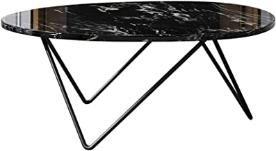 Living Room Furniture Metal Simple Modern Black Marble Coffee Table End Table,Creative Metal Base,Egg Shape,80x60x42cm