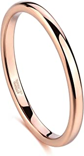 Greenpod 2mm Tungsten Wedding Bands Ring for Women Rose Gold/Silver Polished/Sandblasted Slim Engagement Promise Rings Comfort Fit Size 4-12.5