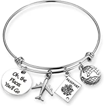 ZNTINA Travel Bracelet Oh The Places You Will Go Bracelet Graduation Gift Inspiration Jewelry for Travel, Graduation