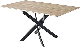 Skraut Home - Table à Manger Fixe, Salon, Modèle Zen, Couleur Chêne, Pieds métalliques, 140x80x75cm