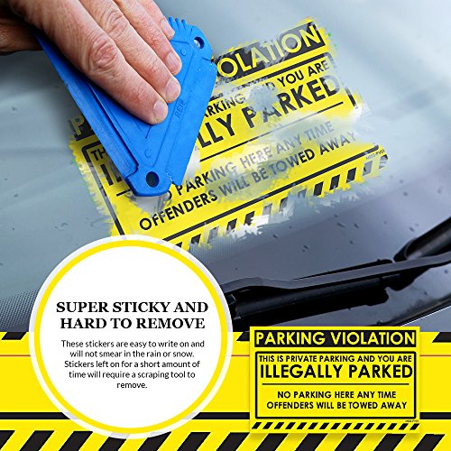 """No Parking Violation Stickers Hard to Remove (Yellow) 10-Pack Illegal Parking Warnings and Towing Tags for Illegally Parked Vehicles in Your Lot – Super Sticky Car Permit Notices 8"""" x 5"""" by MESS Photo #8"""