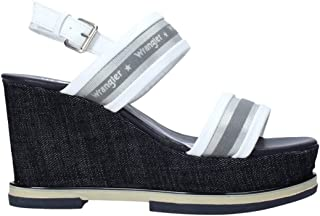 Wrangler Sandalo Donna con Fibbia in Ecopelle WL01553A Blu o Naturale. Una Calzatura Comoda Adatta per Tutte Le Occasioni....