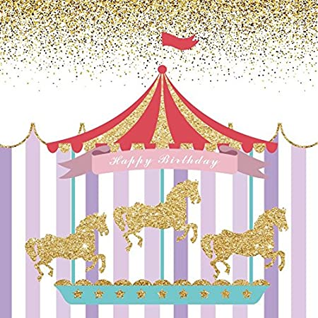 Happy Birthday Party Photography Backdrops Yeele 10x10ft Circus Princess Carousel Stripes Photo Background for Party Banner Decor Girl Baby Newborn Portrait Shooting Studio Props Photocall