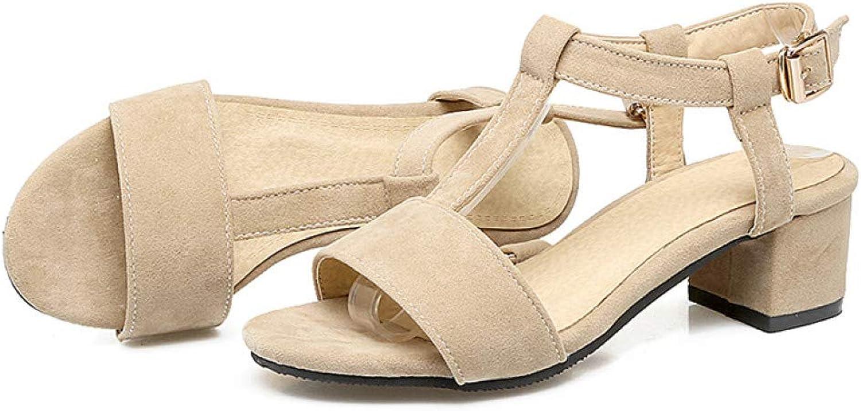 JOYBI Womens Peep Toe Sandals T Strap Summer Non Slip Velvet Buckle Casual Chunky Thick Mid Heels Sandal