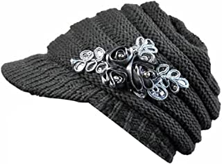 TWGONE Korean Version Womens Cap Winter Ladies Hat Brim Sequin Applique