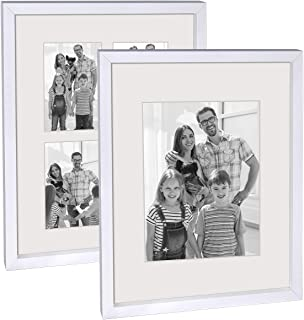 Q.Hou 11x14 Picture Frame White Set of 2, Each Frame with 2 Mats, Display 8x10 Or Four Opening 4x6 Photos with Mat & 11x14...