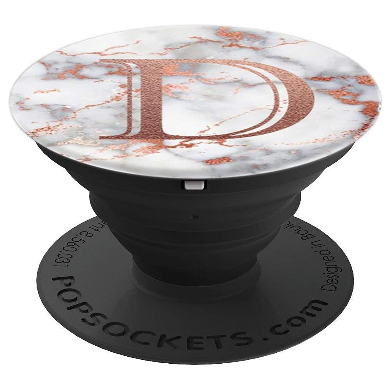 Marble with Letters D Monogram Rose Gold Letter for Initial - PopSockets Grip and Stand for Phones and Tablets