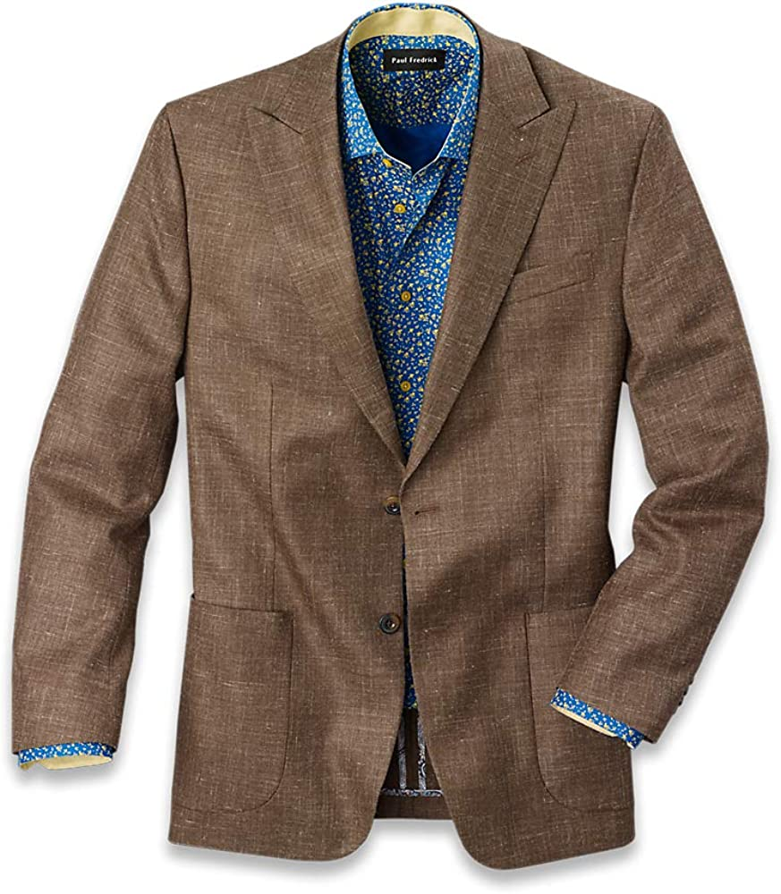 Paul Fredrick Men's Wool Silk and Linen Notch Lapel Sport Coat