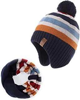 Baby Boys Girls Knit Hats Winter Fleece Skiing Winter Caps with Warm Ear Flap