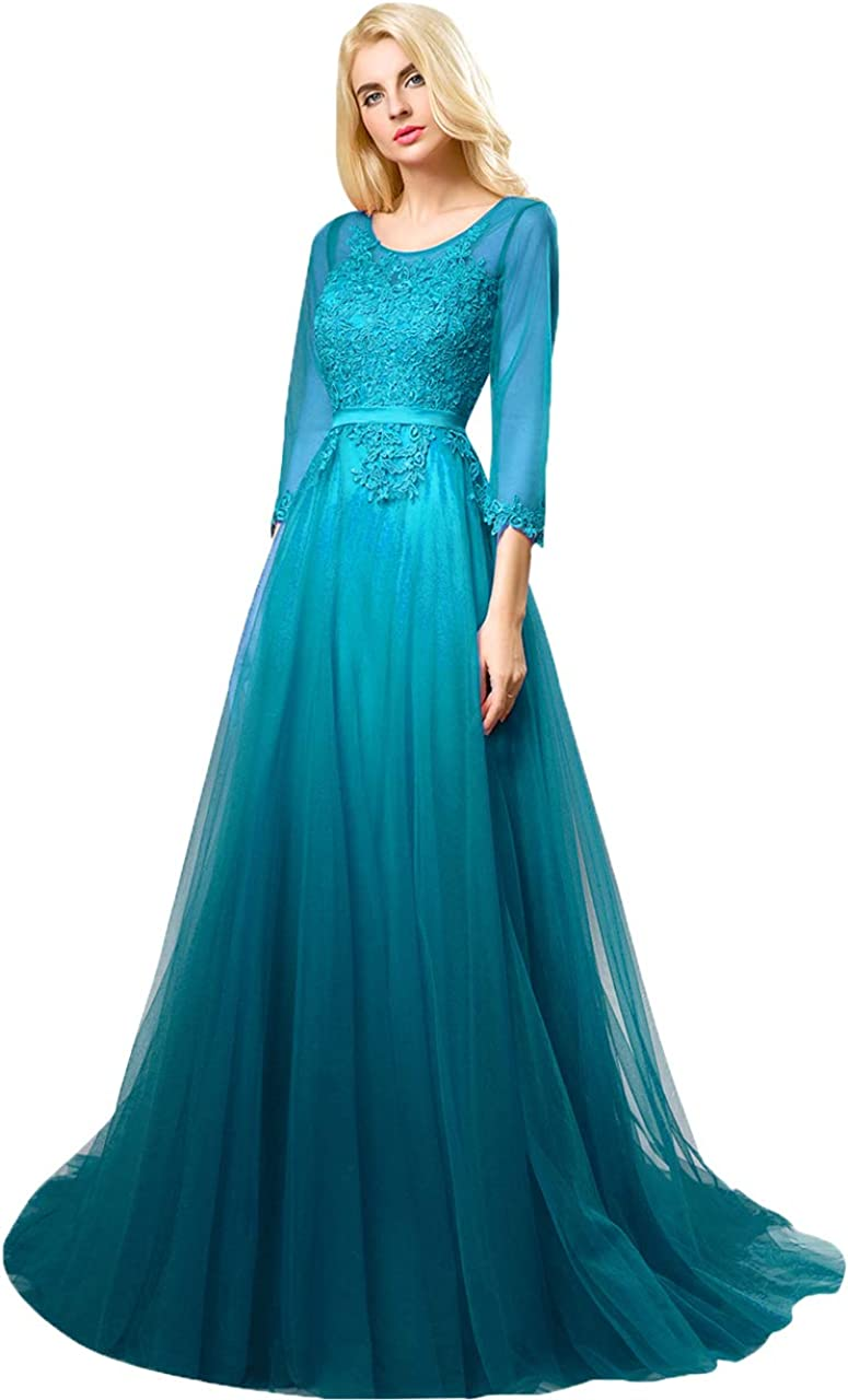 Huifany Women's Prom Dress 3/4 Sleeves Tulle Evening Dresses Long Appliques Lace Formal Gowns