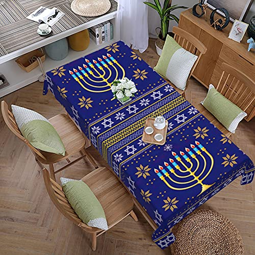 Hanukkah Jewish Holiday Tablecloth,Rectangle Table Cloth (60 x 108 Inch) ,Table Cover for Weddings,Banquets,Restaurants,Buffet Table,Parties,Holiday Dinner