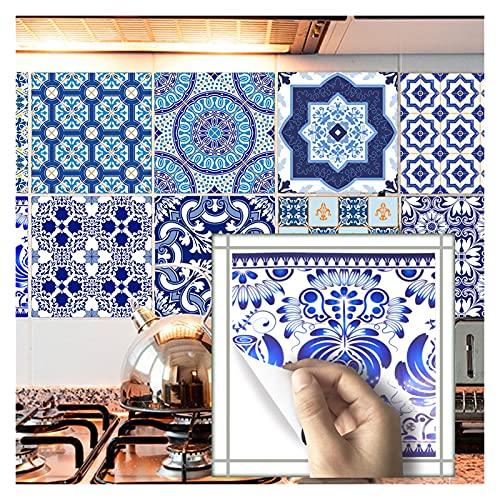 QOXEFPJZ Cenefa Adhesiva Cocina 10pcs Home Wall Etiqueta Etiqueta Empalme Simulación Floral Sistema Pegatina Cocina Casa Cuarto de baño Decoración Muro Impermeable (Color : A, Size : 20cm*20cm)