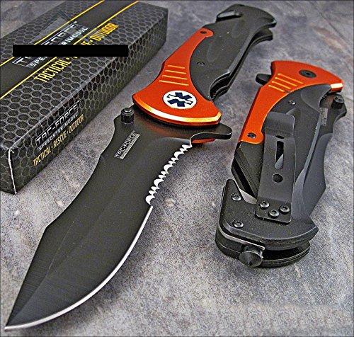 """Tac-force Extra Large 10.5"""" Orange Emt Folder Blade Tactical Rescue Pocket Knife"""