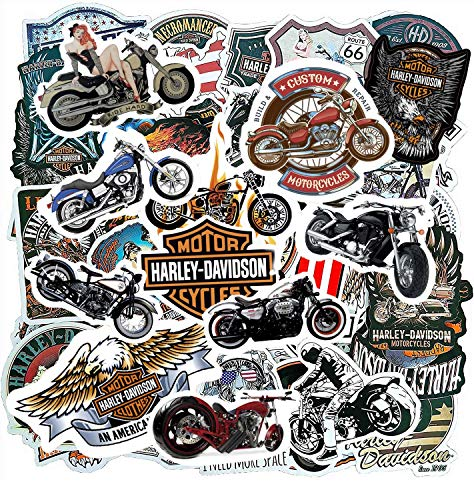 Motorcycle Mens Adults Sticker Pack(100-pcs), Halley Davidson Bumper Stickers for Moto Laptop Skateboard ATV Car Bike