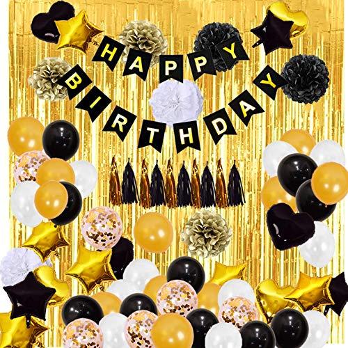 Schwarz Gold Geburtstag Deko set, Happy Birthday Dekoration , Happy Birthday Folienballon Banner, Glitzer Vorhang, Konfetti, Herz Stern Folienballon, Konfetti Ballons, für Damen Herren