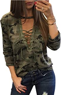 ABD Women's Camo Shirts Camouflage Print Choker V Neck Long Sleeve Lace Up Slim Tops Blouse