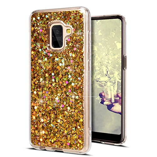 KunyFond Paillette TPU Etui Housse Strass Brillante Bling Glitter Cristal Clair Gel Étui Transparent Hybrid Souple Flexible Protection Bumper Back Couverture Coque Compatible Samsung Galaxy A8 2018-Or