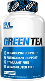Evlution Nutrition Green Tea Leaf Extract Supplement with EGCG for Metabolism and Antioxidant Support, Stimulant Free, Glu...