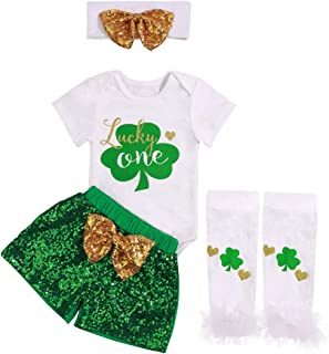 Newborn Baby Girls Clothes Shamrock Rompers+ Tutu Tulle Skirt and Headband Outfits Set