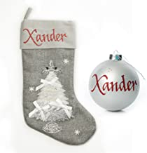The Christmas Cart Personalised Gifts & Keepsakes Silver Tree Stocking and Bauble Pack