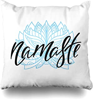 DIYCow Throw Pillows Covers Namaste Inspirational Quote About Happiness Modern Calligraphy Phrase Ornamental Lotus Flower Simple Home Decor Pillowcase Square Size 20 x 20 Inches Cushion Case
