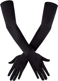 (Black) - SAVITA Long Black Elbow Satin Gloves 50cm Stretchy 1920s Opera Gloves Evening Party Dance Gloves for Women
