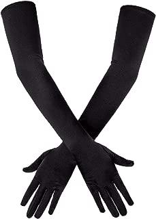 SAVITA Long Black Elbow Satin Gloves 21