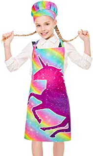 MHJY Kids Apron Chef Hat Set, Unicorn Shark Child Aprons with Adjustable Neck Strap and 2 Pockets, Girls Boys Aprons for C...