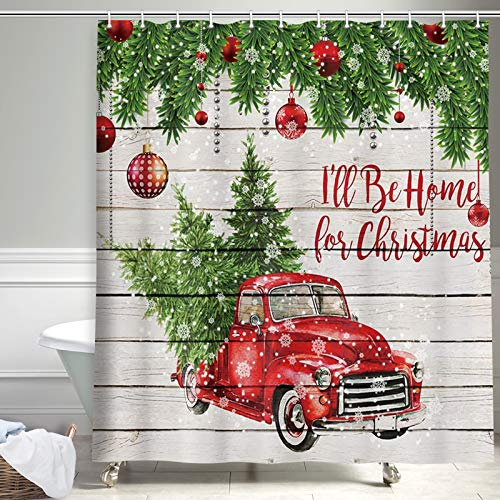 Christmas Shower Curtain, Colorful Christmas Balls with Pine Fir Tree Farmhouse Fabric Shower Curtain, Red Truck Car Snowflake Xmas Tree on Rustic Wooden for Winter Bathroom Decorations, 69X70in