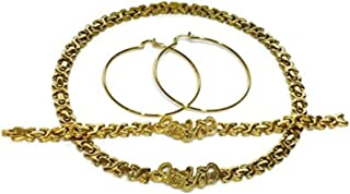 Womens Gold Tone Hugs and Kisses I LOVE YOU Necklace Bracelet Earrings Set Stainless Steel No Stone XOXO