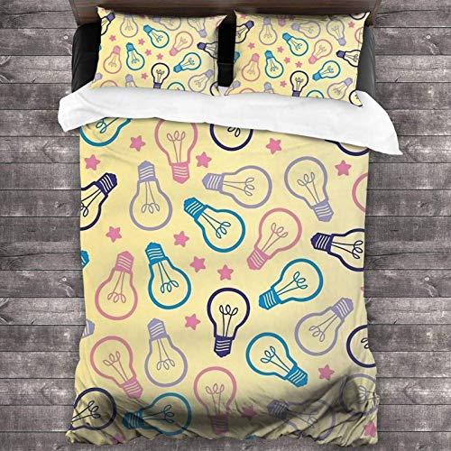 Juego de ropa de cama de 3 piezas de 2016 x 180 cm, bonito juego de cama Queen con 2 fundas de cojín clásicas para habitación de invitados de adultos.