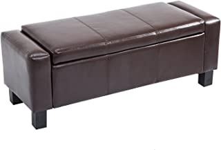 """HOMCOM 42"""" Faux Leather Storage Ottoman Bench Organizer Chest Rectangular Footstool with Hinged Lid - Rich Coffee Brown"""