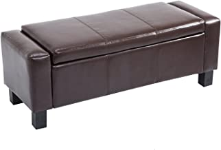 "HOMCOM 42"" Faux Leather Storage Ottoman Bench Organizer Chest Rectangular Footstool with Hinged Lid - Rich Coffee Brown"