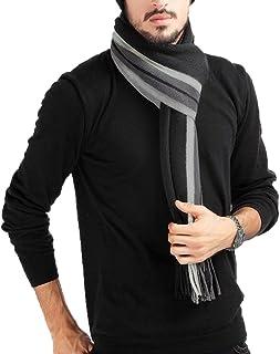 b28f53a69a Écharpe Homme Stripes en Laine Acrylique Long Chaude Vogue en Automne/Hiver  Souple Confortable Gris