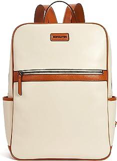 BOSTANTEN Leder Rucksack Damen 15.6 Zoll Laptoprucksack Designer Schulrucksack Casual Backpack Daypacks Groß Beige