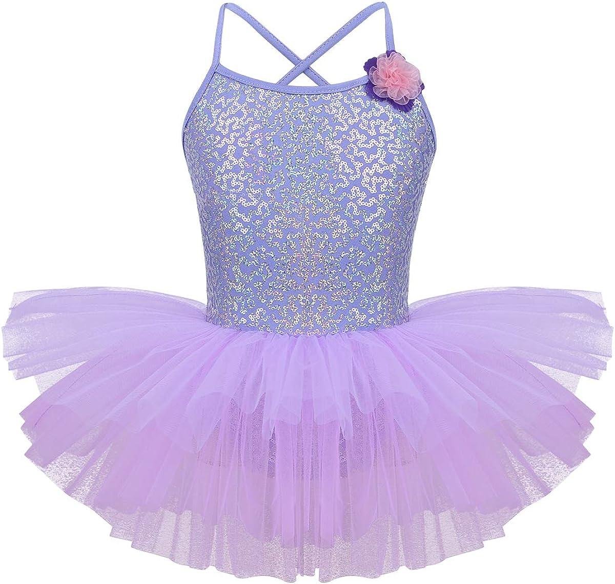 dPois Kids Girls' Spaghetti Straps Shiny Sequined Ballet Dance L