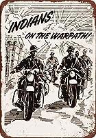 1943戦時中のインドのオートバイヴィンテージルック再生金属ティンサイン