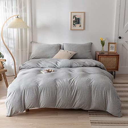 68 x 90 inches DONEUS Washed Cotton Duvet Cover Twin 3 Piece Beige Ultra Soft Solid Pattern Duvet Cover Set,1 Duvet Cover and 2 Pillow Shams,Super Soft and Easy Care Bedding Set with Zipper Closure