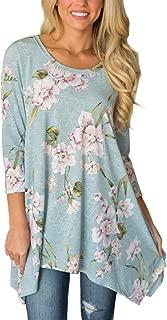 Women's Spring Floral Print 3/4 Sleeve Irregular Hem Asymmetrical Tunic Loose Long Blouse Tops