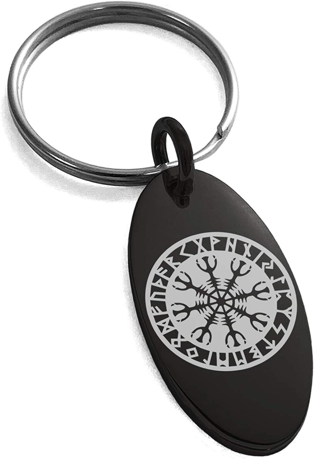 Tioneer Stainless Steel Helm of Awe Viking Norse Symbol Small Oval Charm Keychain Keyring